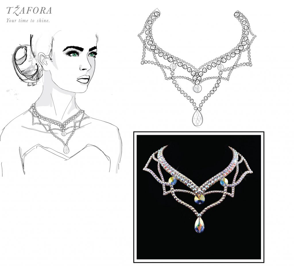 tzafora, ballroom jewelry, ballroom jewellery, dancesport accesories