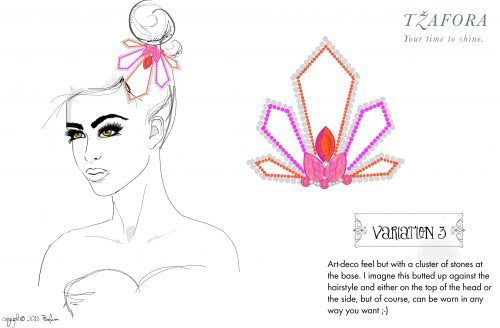 tzafora, custom ballroom, ballroom jewelry, jewelry sketch